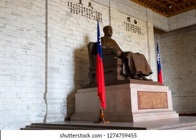 Taipei, Taiwan, Republic of China - December 25, 2018: Chiang Kai-Shek statue at Chiang Kai-shek Memorial Hall, Liberty Square, Zhongzheng District