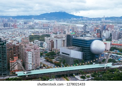 Taipei, Taiwan, Republic of China - December 24, 2018:  Jiantan District from Jiantan hiking trail from the viewing platform