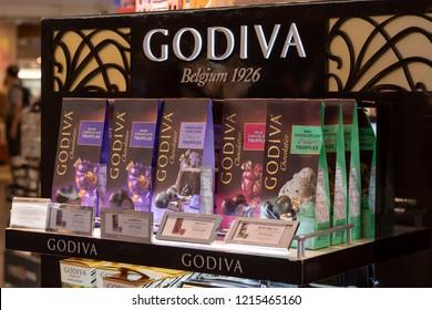 Taipei, Taiwan. September 11, 2018. Luxurious boutique chocolate brand Godiva available for sale at the Taipei International Airport terminal.