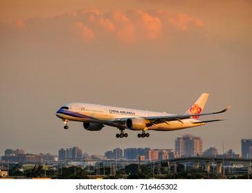 Taipei Taiwan September 16, 2017: China-Airline Airbus A350 landing at Tauyuan(TPE) Airport, Taiwan