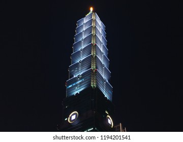Taipei, Taiwan - September 5, 2018: The Taipei 101 tower over dark sky at night, known as the Taipei World Financial Center is a landmark supertall skyscraper in Xinyi District of Taipei city
