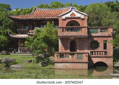 Taipei, Taiwan, September 7th 2021: Yu Chain Lou pavilion, Lin An Tai Historical House and Museum in Binjiang Park in Zhongshan District. The Lin family  built these houses in the 18th century.