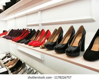 Taipei, Taiwan. September 8, 2018. Row of Nine West luxury shoe brand on sale at Taipei 101 shopping mall.
