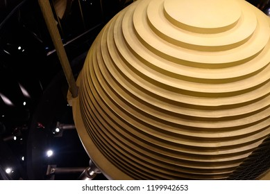 Taipei, Taiwan. September 8, 2018. The giant wind damper ball at the top of the Taipei 101 skyscraper tower.