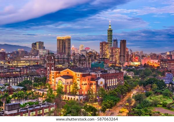 台北、台湾、台湾、台湾の国立大学の上空。