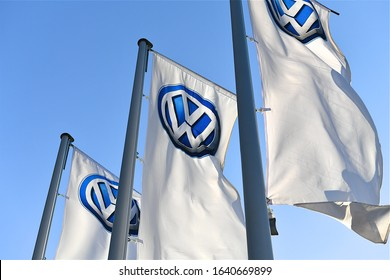 Taipei, Taiwan-11 11 2019:The Volkswagen commercial banners in a car dealership in Taipei, Taiwan.