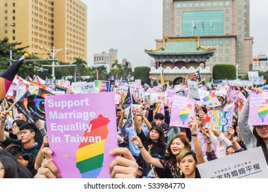 Taipei, Taiwan-December 10, 2016: 250 Thousand People Gathering in Front of the Presidential Office Building of Taiwan to Support Same-Sex Marriage and the LGBT Rights