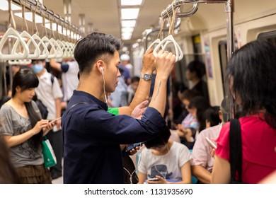 Taipei, Taiwan-May 14, 2018: Taiwanese person travel in the metro from Taipei in Taiwan-Dan