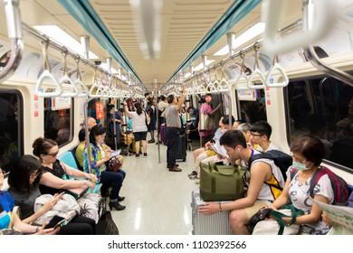Taipei, Taiwan-May 18, 2018: Taiwanese person travel in the metro from Taipei in Taiwan-Dan