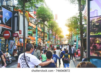 Taipei, Taiwan-May 7, 2017 : tourists and locals shopping at Ximending night market walking street in the evening, This street is a famous and popular travel destination among tourists visiting Taiwan