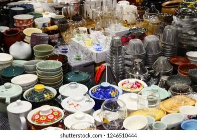 Taipei, Taiwan-Nov. 4, 2018: Various tea pots and  utensils in holiday market.