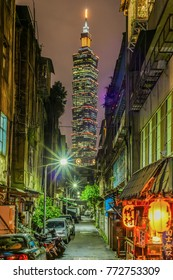 Taipei, Taiwan-October 24, 2017: Landscape Night View of Taipei City and Taipei 101 From The Alley and Japanese Izakaya