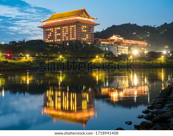 Taipei Taiwan-With zero confirmed cases of COVID-19 reported for 5 consecutive days, the Grand Hotel Taipei lights up rooms to spell 'zero 5' to mark no new COVID-19 cases ,April 30 2020