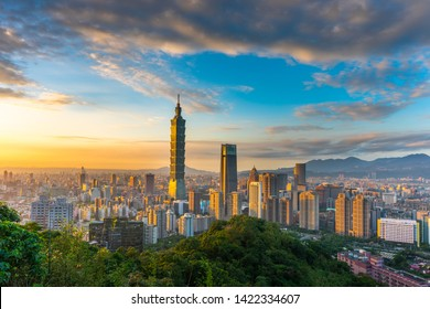 Taipei/Taiwan - 01/07/2019: The beautiful cityscape night light view of Taipei. Taiwan city skyline at twilight time, public scene from observation point at the elephant mountain.