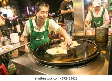 Taipei/Taiwan: 4th October 2013- Fried oyster is one of the local favourite delicacies in Taiwan.  It's a common food that can be found in most of the night market.
