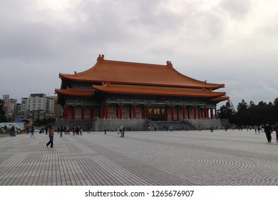 Taipei,Taiwan -DECEMBER 09 ,2018 :Tourist Visitor walking around The National Music Hall at Chiang Kai shek Memorial Hall is a national monument landmark.It is located in Zhongzheng District, Taipei,
