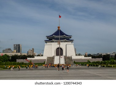 Taipei,Taiwan -July 20 ,2018 :Visitor walking around Chiang Kai Shek memorial hall,  A famous monument, landmark and tourist attraction erected in memory of Generalissimo Chiang Kai-shek.