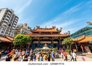 taipei,taiwan - May 10,2018 : Lungshan Temple of Manka is a Chinese folk religious temple in Wanhua District, Taipei, Taiwan.