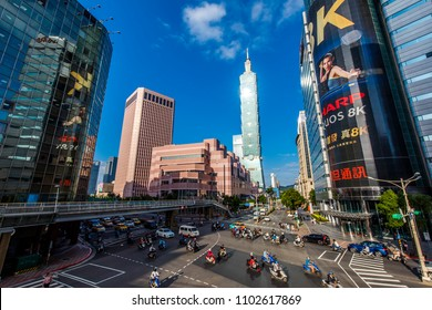 taipei,taiwan - May 10,2018 : Taipei 101 is a landmark supertall skyscraper in Xinyi District, Taipei, Taiwan.