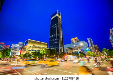 taipei,taiwan - May 10,2018 : Xinyi District at Taipei, Taiwan.The district is a prime shopping area in Taipei, anchored by a number of department stores and malls.