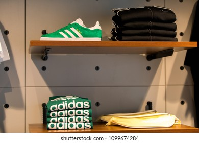 TAIPEI,TAIWAN - MAY 19, 2018:Product Adidas original in Adidas store at Ximending in Taipei, Taiwan. Adidas is a multinational corporation that designs and manufactures shoes, clothing and accessories