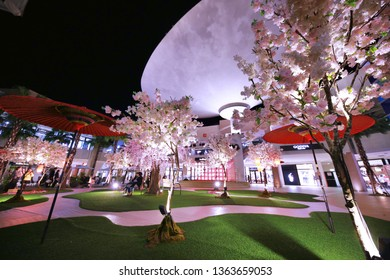 TAIPEI,TAIWAN - MAY 7, 2016 : at the atrium of Mitsui Outlet Park shopping mall. The atrium is decorated with Sakura cherry blossom for promoting the spring sale