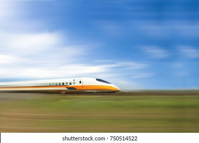 Taipei-Taiwan November 5, 2017: Southbound High Speed Rail with motion blur background. One of major north-south public transportation in Taiwan November 5, 2017.
