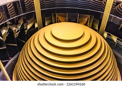 Taipei/Taiwan - October 25 2015 : The 728-Ton Tuned Mass Damper of Taipei 101was built at a cost of US$4 million, and it is the world's largest tuned mass damper.