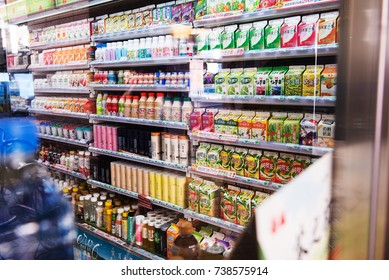 TAIPEI,TAIWAN - OCTOBER 7,2017 : The shelf at 7-ELEVEN shop product categories beverage in city,Taipei,Taiwan