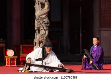 Taipei/Taiwan - Sep 27 2017: Confucius birthday ceremony rehearsal at Taipei Confucius Temple