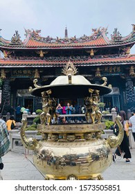 Taipei/Taiwan-11/18/2019: Lungshan Temple is a 2nd class historic relic. It is a three-section design in shape. It honors Guanshiyin Budda and spirits.  It's the burner, censer.