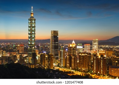 Taipei/Taiwan-Aug. 7th 2018: Taipei city skyline at twilight, famous building and night scene in Taiwan, Taipei, background