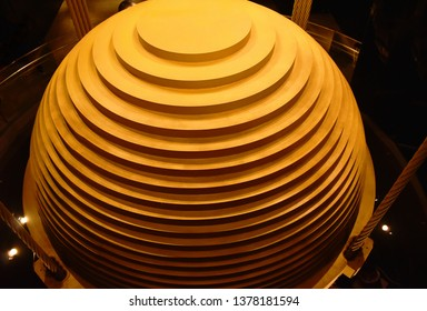 Taipel Taiwan March 31 ,2019: tuned mass damper on 90 floor in Taipei 101 tallest building for subsidence building in Taiwan