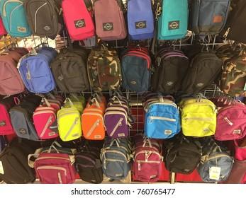 TAIPO, HONG KONG on 16th NOVEMBER 2017. small bum bag/waist bag/travel bag on display for sale at YATA Supermarket in Hong Kong