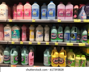 TAIPO, HONG KONG on 4TH APRIL 2017.  Laundry care products on display for sale on shelves at PARKnSHOP Supermarket in Taipo, Hong Kong