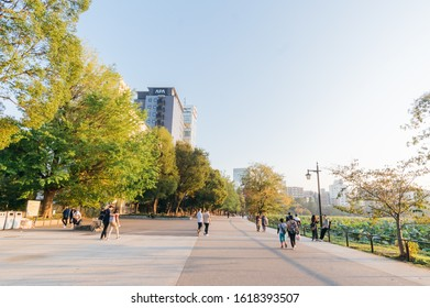 Taito, Tokyo / Japan - November 1 2019:  People at a park close to JR Ueno train station, famous place for shopping, street food, restaurant, museum, and park
