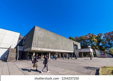 TAITO, TOKYO / JAPAN - NOVEMBER 15 2018 : Scenery of the National Museum of Western Art. The building of the museum is a modern design.