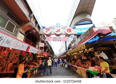 Taito, Tokyo, Japan-June 12, 2018: Ameya-Yokocho is an open-air market in the Taito Ward of Tokyo, Japan, located next to Ueno Station.