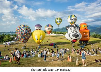 Taitung, Taiwan - August 6, 2018: Taiwan International Balloon Festival at Luye highland
