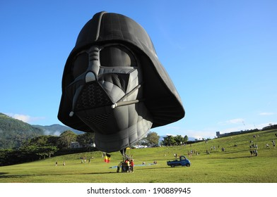 Taitung, Taiwan-Jul 22,2013: A balloon shaped as Darth Vader in Luye Gaotai during Taiwan International Balloon Fiesta