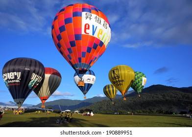 Taitung, Taiwan-Jul 22,2013:  balloons  in Luye Gaotai during Taiwan International Balloon Fiesta
