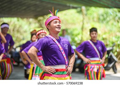 Taitung, Taiwan-July 16, 2016: Amis People Dancing and Singing During Harvest Festival Celebration in Summer