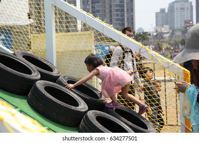 Taiwan - April 04 2015: The government set up a large children's playroom in the park to celebrate Children's Day in Hsinchu