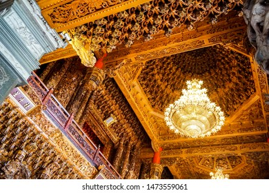 TAIWAN, CHINA - July 14, 2019: Buddhist temple in Taiwan, artsy interior Guandu Temple, fanciful chandelier, ceiling