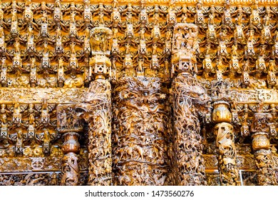 TAIWAN, CHINA - July 14, 2019: Buddhist temple in Taiwan, artsy interior Guandu Temple, carved wall in sculptures