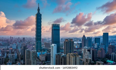 Taiwan city skyline and skycraper the beautiful of Taipei, Taiwan city skyline and skyscraper and other modern building of downtown, Taipei is popular tourist destination.