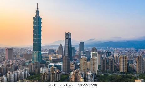 Taiwan city skyline at sunset, The beautiful sunset of Taipei, Aerial view Taiwan city skyline.