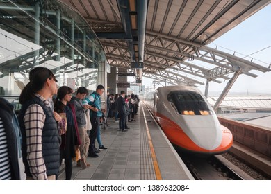 Taiwan February 26 2019.people waiting Taiwan high speed rail(HSR) at station, taichung.