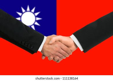 The Taiwan flag and business handshake