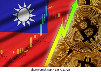 Taiwan flag and cryptocurrency growing trend with many golden bitcoins